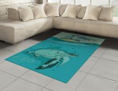 Su Kaplumbağası Desenli Halı (Kilim) Turkuaz Deniz