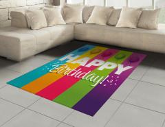 Şık Kutlama Desenli Halı (Kilim) Doğum Günü Rengarenk