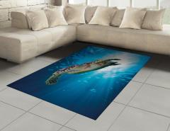 Yüzücü Su Kaplumbağası Halı (Kilim) Turkuaz Deniz