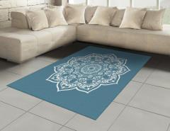 Beyaz Mandala Çiçekli Halı (Kilim) Mavi Dekoratif
