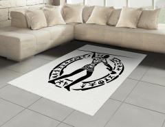 Antik Avcı Desenli Halı (Kilim) Siyah Beyaz Dekoratif