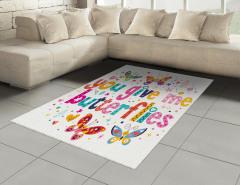 Çocuklar İçin Kelebekli Halı (Kilim) Rengarenk