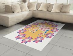 Çiçek ve Fil Desenli Halı (Kilim) Rengarenk Sevimli