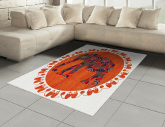 Fil ve Çiçek Desenli Halı (Kilim) Turuncu Süslemeli