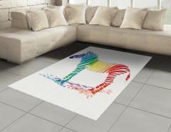 Rengarenk Zebra Desenli Halı (Kilim) Beyaz Fonlu