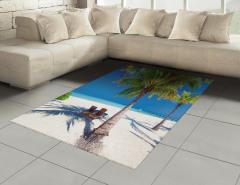 Egzotik Ada Manzaralı Halı (Kilim) Palmiye ve Deniz