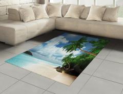 Egzotik Kumsal Manzaralı Halı (Kilim) Palmiyeli