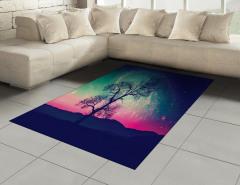 Uzay Temalı Halı (Kilim) Ağaç ve Rengarenk Gökyüzü