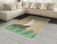 Dalgalar ve Yelkenli Çizimli Halı (Kilim) Kahverengi