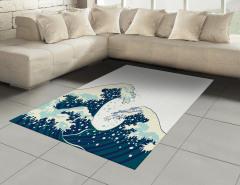 Geleneksel Japon Çizimli Halı (Kilim) Dalgalar
