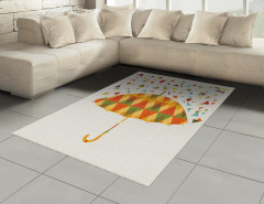 Renkli Üçgen Yağmuru Desenli Halı (Kilim) Şemsiyeli