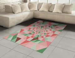 Pembe Yeşil Üçgenler Desenli Halı (Kilim) Geometrik