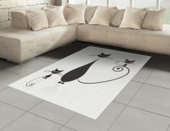Siyah Kedi ve Yavruları Halı (Kilim) Şık Tasarım