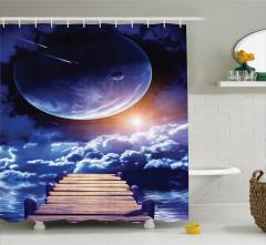 Uzaydaki İskele Temalı Duş Perdesi Ay Bulut Gökyüzü