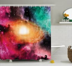 Rengarenk Uzay Temalı Duş Perdesi Galaksi ve Gökyüzü