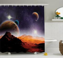 Gezegen Desenli Duş Perdesi Uzay Gökyüzü Güneş