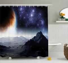 Uzaya Yolculuk Temalı Duş Perdesi Gezegen Gökyüzü