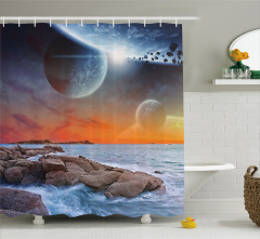 Dünya ve Deniz Temalı Duş Perdesi Gökyüzü Evren