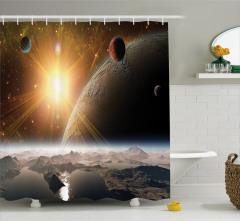 Uzaydan Dünya'ya Bakış Temalı Duş Perdesi Gezegen