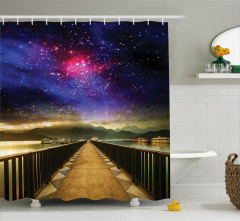 Sonsuzluk Köprüsü Temalı Duş Perdesi Uzay Gökyüzü