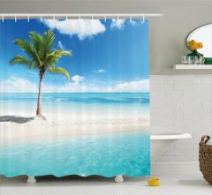 Yalnız Palmiye Temalı Duş Perdesi Ada Turkuaz Deniz