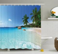 Palmiye Cenneti Temalı Duş Perdesi Egzotik Ada