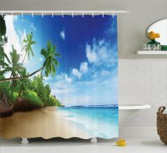 Bulut ve Deniz Temalı Duş Perdesi Palmiye Ada