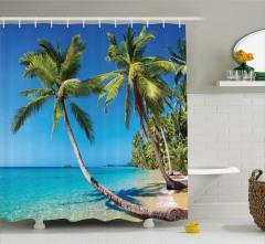 Güneşli Plaj Temalı Duş Perdesi Deniz Palmiye