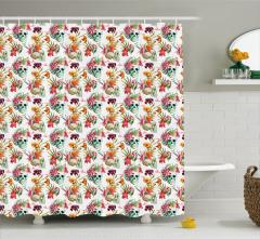 Kuru Kafa ve Çiçek Desenli Duş Perdesi Sulu Boya