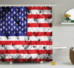 ABD Bayrağı Desenli Duş Perdesi Kırmızı Lacivert