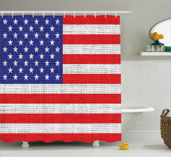 Amerikan Bayrağı Temalı Duş Perdesi Dokuma Etkili