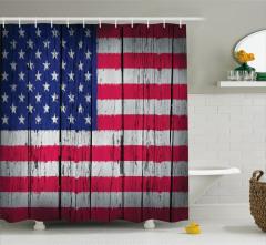 ABD Bayrağı Desenli Duş Perdesi Nostaljik Görünümlü