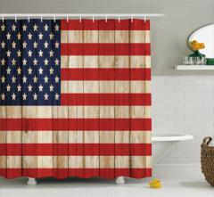 Amerikan Bayrağı Desenli Duş Perdesi Ahşap Çit