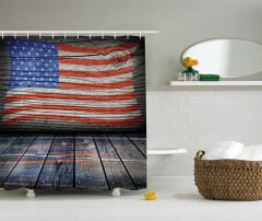 Ahşap Görünümlü Duş Perdesi ABD Bayrağı Desenli
