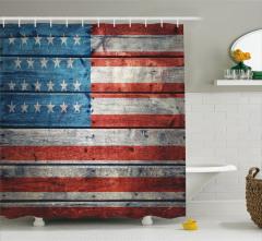 Ahşap Baskılı ABD Bayrağı Desenli Duş Perdesi
