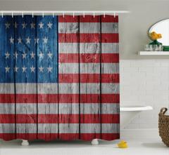 Amerikan Bayrağı Temalı Duş Perdesi Ahşap Zemin