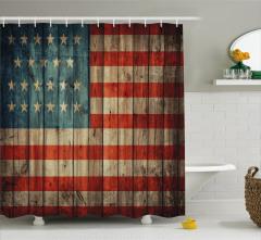 Amerikan Bayrağı Desenli Duş Perdesi Ahşap Zemin