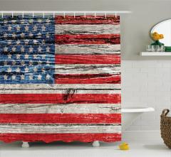Amerikan Bayrağı Baskılı Duş Perdesi Kırmızı Mavi