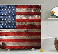 Amerikan Bayrağı Baskılı Duş Perdesi Ahşap Dokulu