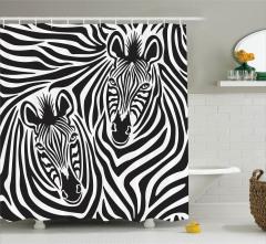 Hipnotize Eden Zebralar Duş Perdesi Siyah Beyaz