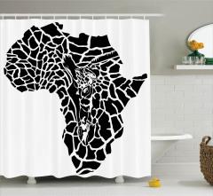 Zebra Desenli Afrika Haritalı Duş Perdesi Afrika