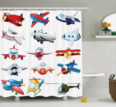 Çocuklar için Duş Perdesi Rengarenk Uçak Desenli