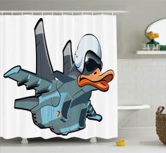 Çizgi Roman Tarzı Duş Perdesi Uçan Ördek Fantastik