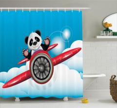 Çocuklar için Duş Perdesi Uçan Panda Temalı Mavi