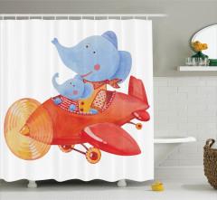 Çocuklar için Duş Perdesi Filler Uçakta Temalı Mavi