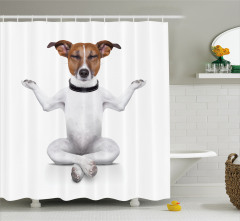 Yoga Yapan Sevimli Köpek Desenli Duş Perdesi Beyaz