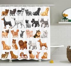 Hayvan Severlere Duş Perdesi Köpek Türleri Kolajı