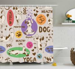 Yoga Yapan Köpek Desenli Duş Perdesi Gri