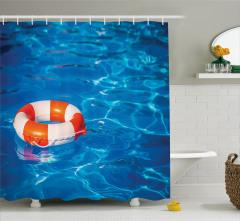 Tatil Temalı Duş Perdesi Yüzme Havuzu Can Simidi