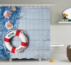 Deniz Kabuğu ve Can Simidi Temalı Duş Perdesi Mavi